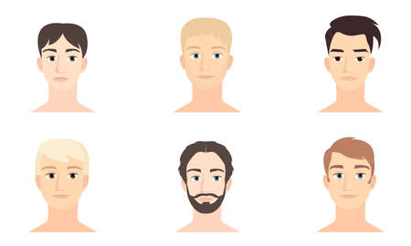 Set of male faces with different hairstyles and face expressions vector illustration