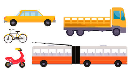 Set of isolated hand drawn different types of auto and moto vehicles over white background vector illustration. Transportation kinds concept