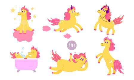 Set of isolated hand drawn yellow magic unicorns with horns doing casual things over white background vector illustration. Fantasy animal concept Illustration