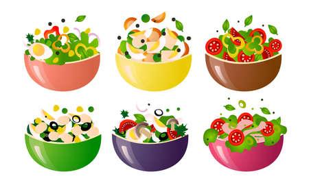 Different kinds of healthy fresh salads meals in colorful bowls vector illustration Illustration