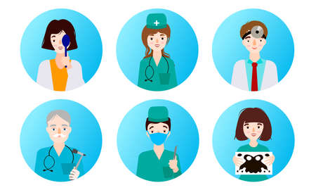 doctors, general practitioners, oculists and patients in clinic in clinic