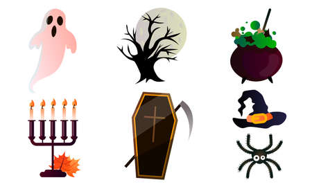 Set of isolated different traditional objects for celebrating Halloween holiday 向量圖像