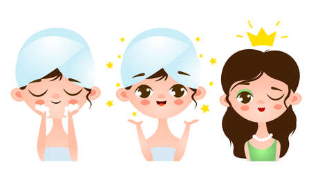 Woman during morning cleaning and make up procedures becoming princess vector illustration