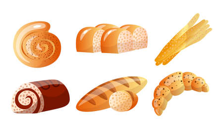 Different kinds of bakery flour products vector illustration