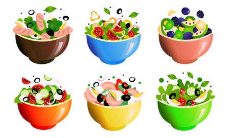 Different kinds of healthy fresh salads meals in bowls vector illustration Illustration