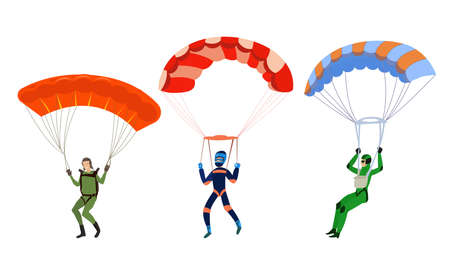 Happy smiling young people skydivers with parachutes illustration Иллюстрация