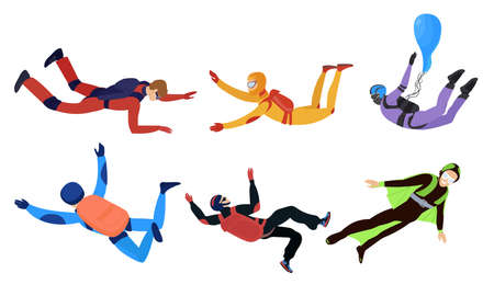 Happy smiling young people skydivers enjoying levitation vector illustration