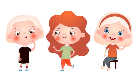 Set of funny cute little girls spending free time having fun and playing. Vector illustration in a flat cartoon style.