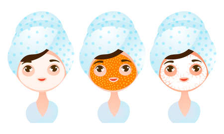 Set of a cute young girl with different types of facial masks. Vector illustration in a flat cartoon style.