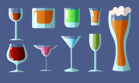 Set of different glasses in various shapes with alcoholic drinks. Vector illustration in a flat cartoon style. Vettoriali