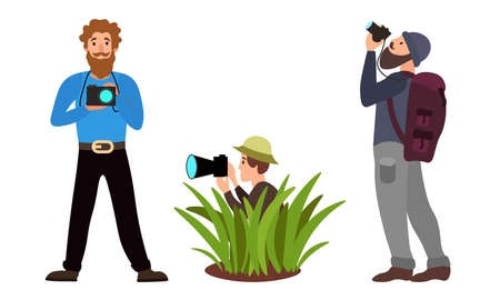 Set of different male photographers in different action poses. Vector illustration in a flat cartoon style.