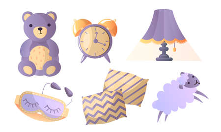 Set of different things in thematic of healthy sweet sleep. Vector illustration in a flat cartoon style. Illustration