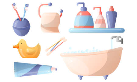 Set of bathroom accessories toothbrushes, toothpaste, toilet paper, liquid soap, ear sticks, bathtub, bath duck. Vector illustration 向量圖像