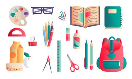 Collection set of different school and educational supplies scissors, ruler, pair of compasses, glue, paper clips, glasses, schoolbag, erasers, pencils, textbook, notebook, lunch Isolated vector set