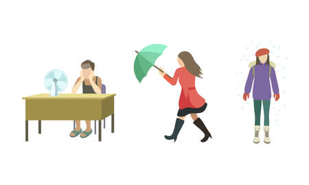 Set of people struggling from strong wind raining, abnormal heat, snowfall. Vector illustration in flat cartoon style.