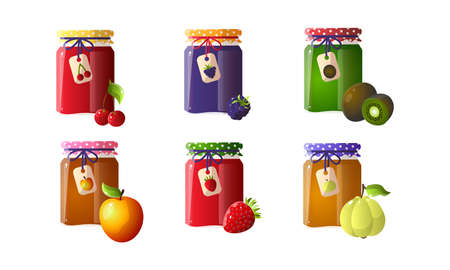 Set of different jams in jars with blackberry, cherry, kiwi, apple, strawberry. Vector illustration in flat cartoon style.
