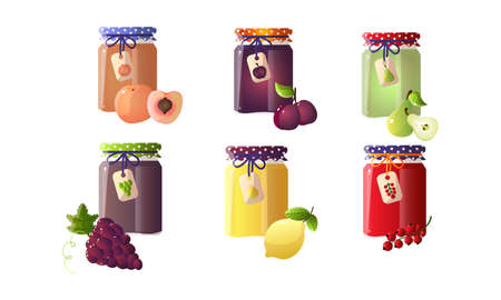 Collection set of different jams in glass jars with peach, plum, pear, lemon, currant, grape. Isolated icons set illustration on a white background in cartoon style. Illustration