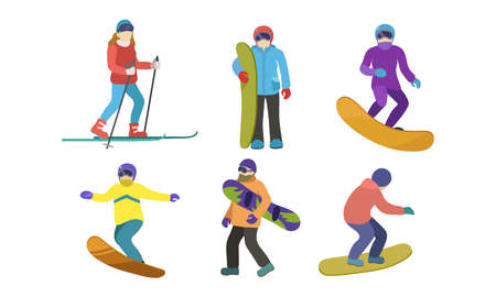 Set of different skiers and snowboarders characters. Vector illustration in flat cartoon style. Ilustracja