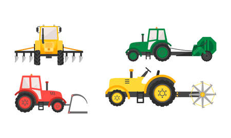 Hand drawn different types of agricultural machinery for harvesting