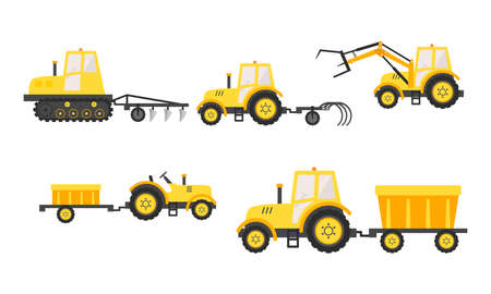 Hand drawn yellow agricultural machinery for harvesting Çizim