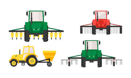 Hand drawn different types of agricultural machinery vector illustration Illusztráció
