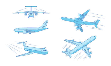Different types of moving blue passanger planes over white background Vettoriali