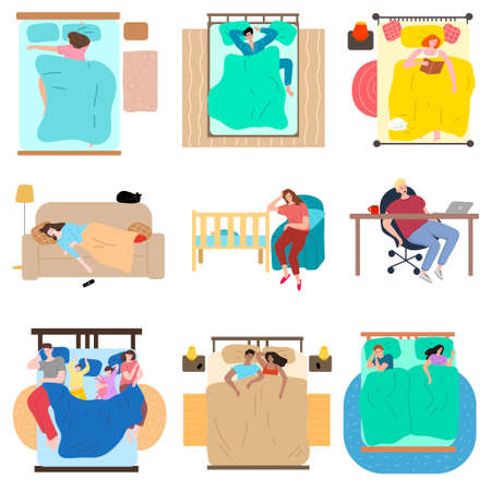 Set of hand drawn people sleeping in different poses and places over white background vector illustration. Sleep and rest concept Vector Illustration