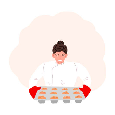 Woman confectioner or baker baking cupcakes vector illustration Vector Illustratie