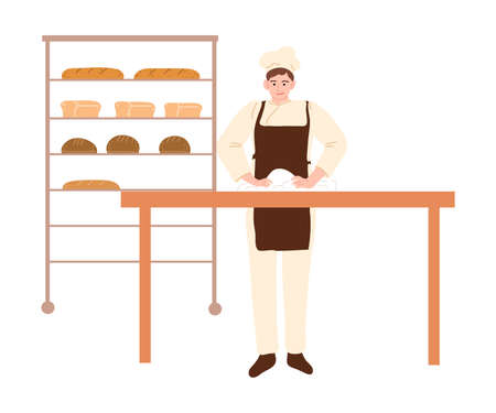 Hand drawn young man baker standing and making dough for baking bread in bakery over white background vector illustration. Baking process concept