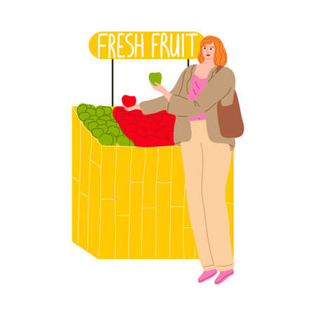 Young woman buying fresh fruits at market vector illustration