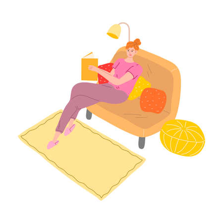 Young woman sitting on sofa and reading book in evening vector illustration