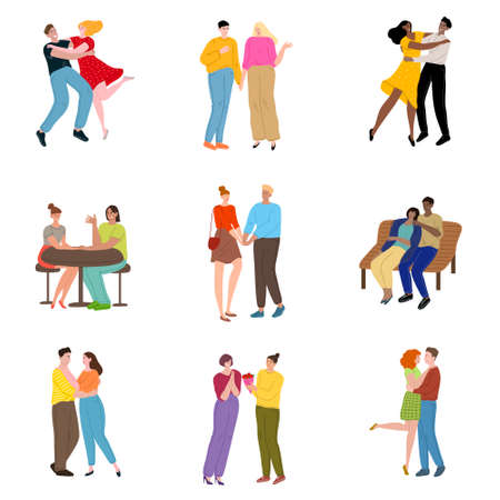 Set of hand drawn couples and friends meeting in different places and feeling happy over white background vector illustration. Dating and meeting concept