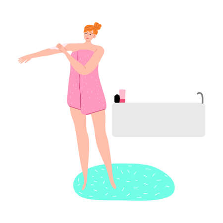 Young woman applying body cream after shower vector illustration