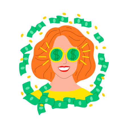 Young womans face surrounded with dollars vector illustration