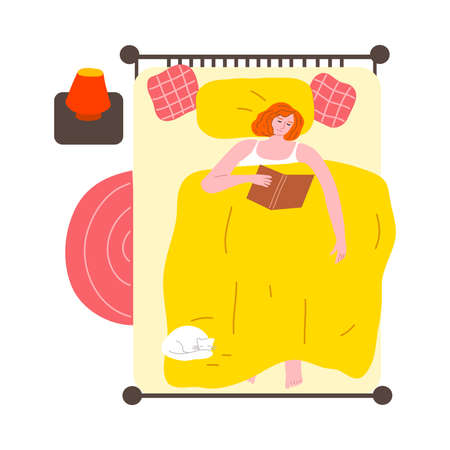 Woman reading book in big bed at home before sleep vector illustration