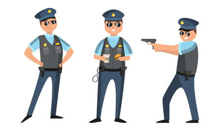 Collection set of cartoon American policeman at work in various poses wearing dark blue pants and light blue shirts. Isolated icons set illustration on a white background in cartoon style. Vecteurs