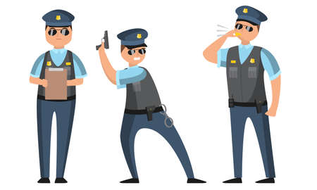 Collection set of cartoon American policeman at work in various poses wearing dark blue pants and light blue shirts. Isolated icons set illustration on a white background in cartoon style.