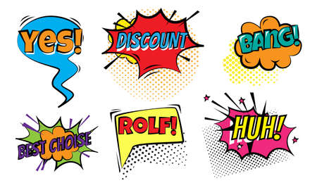 Set of isolated hand drawn different colorful chat doodles and words for attracting attention over white background vector illustration. Communcation essentials illustrations concept