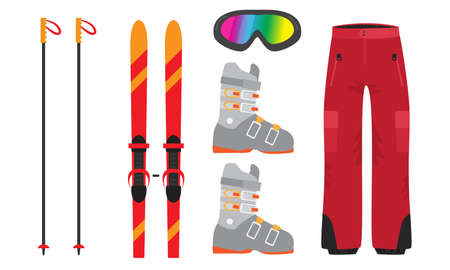 Set of isolated hand drawn stylish clothing and equipment for mountain skiing over white background vector illustration. Stylish sports items concept