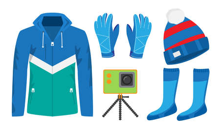 Set of isolated hand drawn stylish clothing and equipment for winter sports over white background vector illustration. Stylish sports items concept Illusztráció