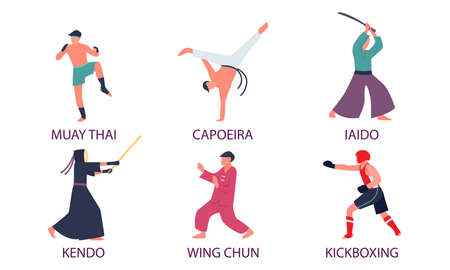 Set of isolated hand drawn men practicing different kinds of asian martial arts with titles over white background vector illustration. Martial arts for developing body illustrations concept Illustration