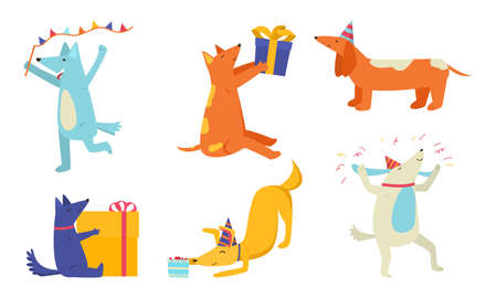 Set of isolated hand drawn happy smiling dogs celebrating birthday and holding present boxes over white background vector illustration. Animals during party concept