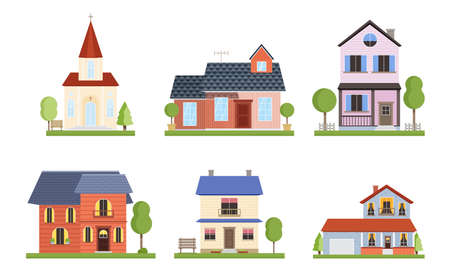 Collection set of different country houses with green garden trees. The facade of the bungalows concept. Isolated icons set illustration on a white background in cartoon style.