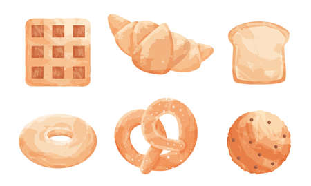 Collection set of different types of baked goods with different types of bread sweet buns. Kinds of bakers flour products. Isolated vector icon illustration on white background in cartoon style