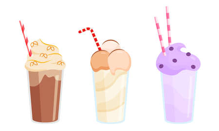 Collection set of three colorful milkshakes in glasses with tubes made with different ingredients. Isolated vector icon illustration on white background in cartoon style Vecteurs