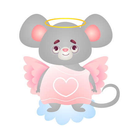 Cute happy smiling humanized grey angel mouse stands in a pink dress with wings and halo. Funny angel mice cartoon character concept. Isolated vector illustration on white background in cartoon style
