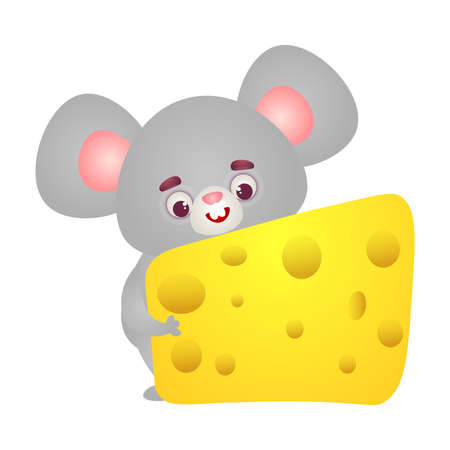 Happy grey mouse character with big ears holding in paws yellow cheese slice. Vector illustration in the flat cartoon style.