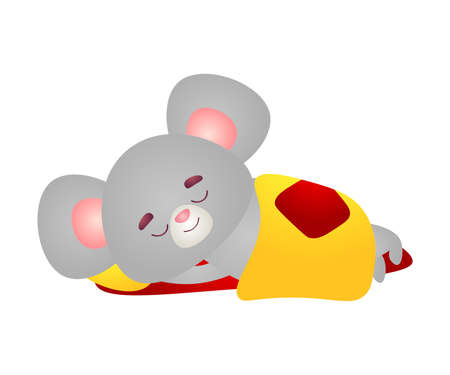 Happy grey mouse character with big pink ears is sleeping in bed under the blanket. Vector illustration in the flat cartoon style.