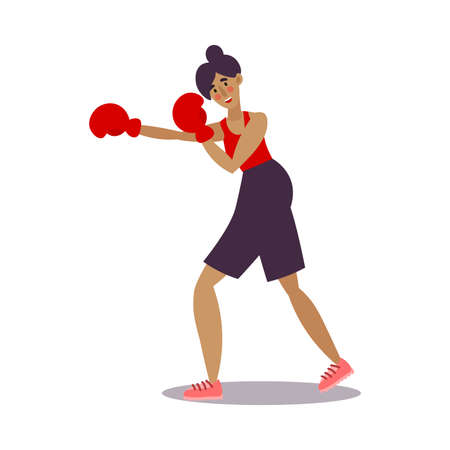 Funny girl boxer posing in black shorts with red boxing gloves. Vector illustration in the flat cartoon style