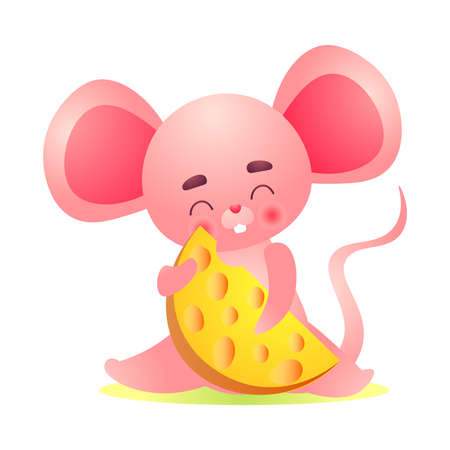 Funny fat pink mouse character with big ears holding in paws yellow cheese slice. Cute domestic mice concept. Isolated vector icon illustration on white background in cartoon style